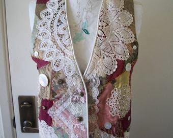 Stunning Vintage Patchwork Lace Vest. Unique Laces & Buttons. Reversible Cream Satin By Patricia Anne. Sz M. Hippie/Gypsy/Boho  Wedding.