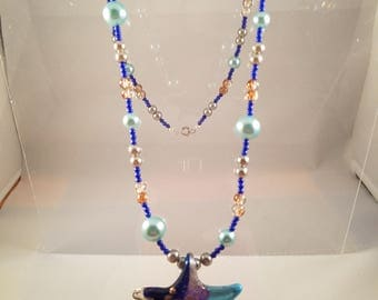 Ready for the Beach! Glittery Star Pendant Beaded Necklace Glass Pearls, Crackle Glass Beads and Lapis  Designer Earrings