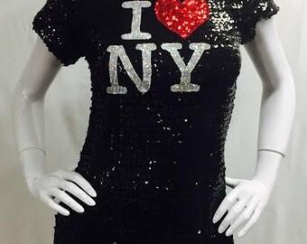 Sequin I Love NY T-shirt Dress