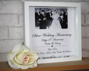 silver wedding anniversary gift / silver wedding frame / Personalised Frame / Gift for couples / silver anniversary / 25th anniversary gift