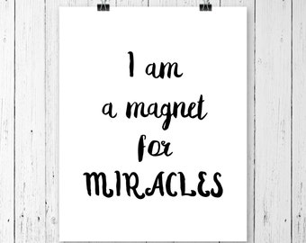 Affirmations, Miracles print, Daily affirmations, Motivational poster, Bathroom wall art, Yoga art for bedroom, Yoga art for home, Printable