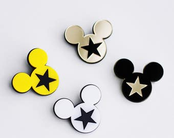 Acrylic pin brooch incrustation Mickey Mouse and Stars. Fashion for jacket, bag, bagpack, coat statement jewellery
