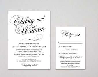 Wedding invitation template - Printable wedding invite - instant download - COLOR and TEXT editable - Microsoft word - Diy wedding template