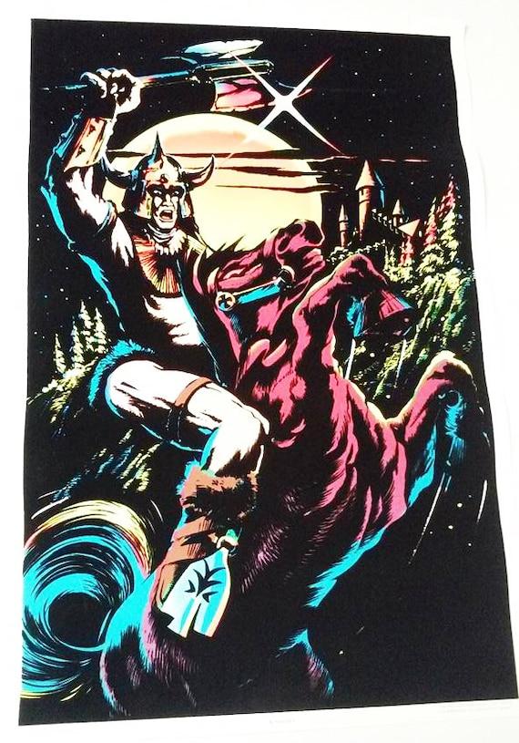 "Original Velvet Blacklight Poster ""Knight"" C/C Sales Chicago ©1984 H.G.G."