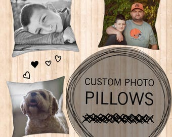 Custom Photo Pillow - Your Photo on Pillows - Pet Children or Family Photos on Pillow - Custom Gifts - Gifts for Mom - Mother's Day Gift
