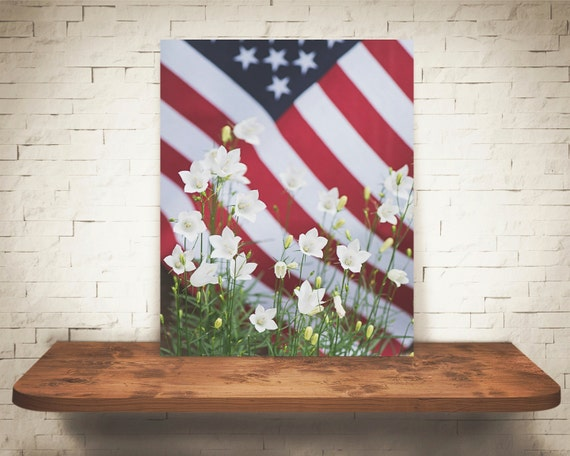 American Flag Flowers Photograph - Fine Art Print - Home Wall Decor - Stars Stripes - Red White & Blue - Patriotic Decor - Pictures