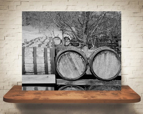 Wine Barrels Photograph - Fine Art Print - Home Wall Decor - Black & White - Wood Barrel Pictures - Wall Hanging - Rustic Artwork - Winery