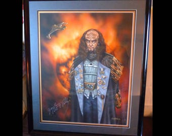 Star Trek Artwork Original Painting Of Klingon Character Gowron Signed By Artist/Actor One Of A Kind, No Other Exists REDUCED for quick sale