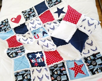 AIR FORCE QUILT - Baby Quilt - Baby Blanket Set - Handmade - Military Baby Quilt - Baby Shower Gift - Special Occasion Gift