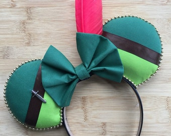 Peter Pan Mouse Ears, Peter Pan Inspired Mouse Ears, Peter Pan Ears, Neverland