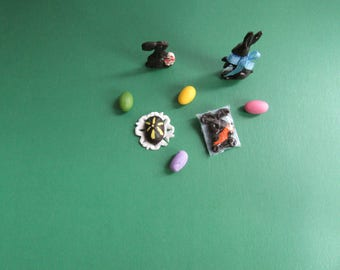 Miniature Dollhouse Chocolate Rabbits and Egg/ Colored eggs (Set of 8) 1/12''