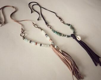 Boho necklace with amazonite stones and leather tassel