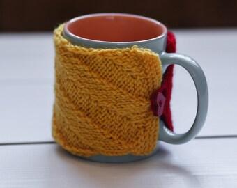 Red mug cozy Coffee cup cozy Cup cozy Coffee cup sleeve Yellow cup sleeve Red cup cozy Coffee cozy Tea cozy Handmade cozy Holiday gift