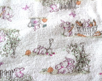 Cotton receiving blanket with rabbits