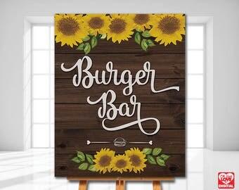 Sunflower Burger Bar Sign, I do BBQ, Sunflower Wedding, Sunflower shower,Sunflower Wood, Rustic sign,Printable 8x10, Instant Download JPG