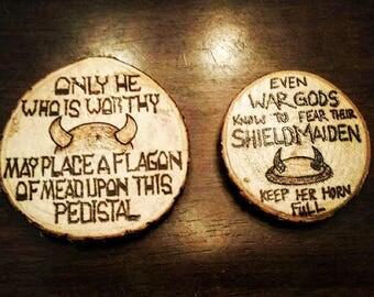 Wood Burned - Pyrography Custom Handmade 2-Piece Basic Text Viking and Shieldmaiden Inspired Coaster Set