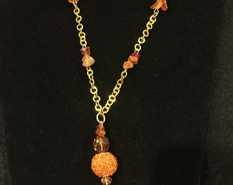 Tangerine & gold tassel nexklace