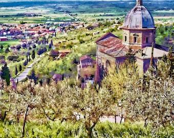 Tuscan Landscape, Cortona Chapel, Under The Tuscan Sun, Tuscan Wall Decor, Chapel Print Cortona, Fine Art Photo, Art Print