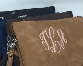 Leather Crossbody-Monogrammed Crossbody-Wristlet -Crossbody Bag-Monogrammed Clutch-Monogrammed Wristlet -Bridesmaid Gift-Gift for Her