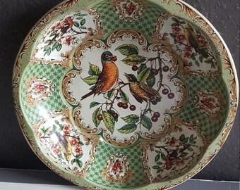 Tin Bowl. Green Floral Bowl. Bird Design Bowl. Daher Decorated Ware 1971.
