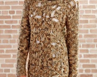Ladies Openwork Sweater, Crochet Pattern. PDF Instant Download.