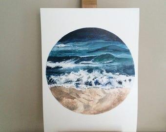 Beach Waves Watercolour Print