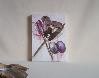 Mixed Media Flower Painting with Vibrant Pink and Purple Hue.'Still Life w. Tulips'. Ready to hang, A Unique Beautiful Gift by UK Artist.