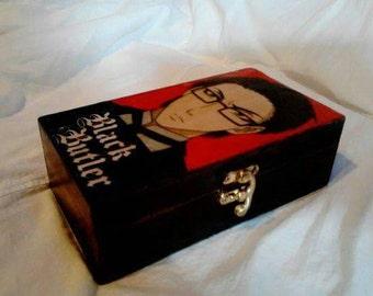 Black Butler decoupaged wooden trinket box.