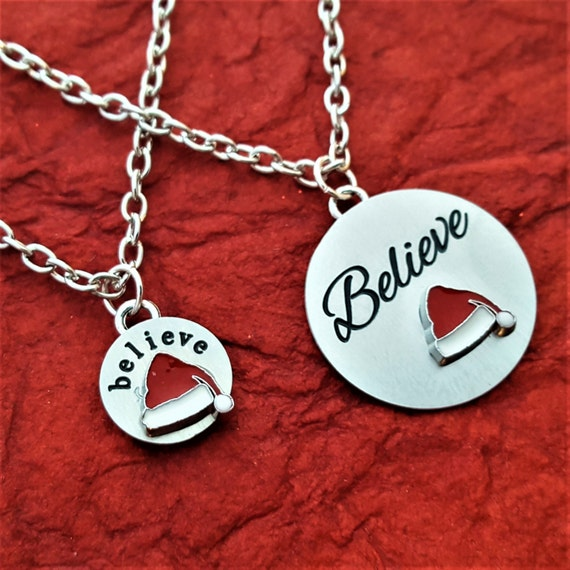Believe Charm Necklace, I Believe in Santa Clause Gifts, Holiday Jewelry, Believe Charms, Candy Cane Charm, Christmas Gift for Wife Daughter