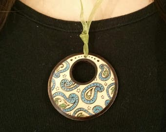 bridesmaid gift, paisley design pendant necklace, boho jewelry, woodburned jewelry, paisley pendant, unique gift for her