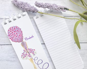 Set of 3 To-Do List, Note Pad, Spiral Bound, Personalized,  Lined Paper, Babysitter Gift, Purple, Pink, Balloon, Birthday Gift, Notepad
