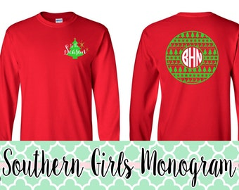 Christmas Shirt Christmas Monogram Shirt Holiday Shirt for Women & Girls