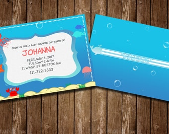 Beautiful Under The Sea Baby Shower PSD Invitation Template