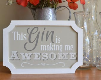 Gin Sign. Gin gift, Funny Gin Sign, Mothers Day Gift, Birthday Gift. Anniversary, Gin Lover Gift, Retro Sign, Vintage Sign