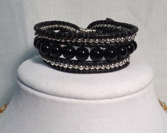 Silver and black leather beaded bracelet