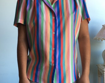 Vintage sz S/M tri color striped top