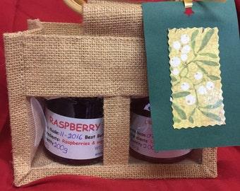 Food Hamper, Homemade Jams, Marmalades, Chutneys Gift Set with Jute Gift Bag & Tag, Hostess Gift, Teachers Gift, Christmas Hamper, Food Gift