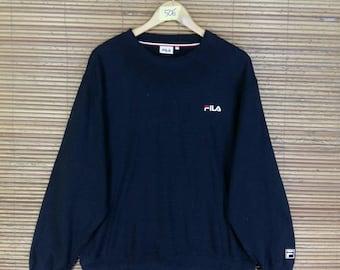 Vintage 90's FILA Jumper Sweatshirt Large Sportswear Fila Biella Italia Sport Black Pullover Crewneck Fila Og Sweaters Size L
