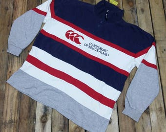 Vintage 90's CANTERBURY Rugby Stripes Sweater Large Vintage Canterbury Of New Zealand All Blacks Rugby Multicolor Sweatshirt Jumper Size L