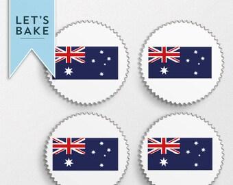 Australian flag cupcake toppers X12