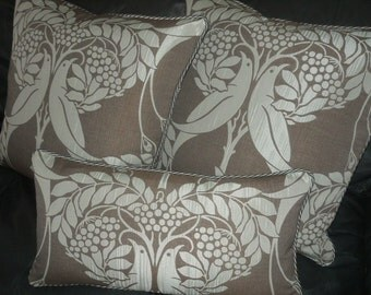 Throw pillows Love birds Antique French style Designer fabric Custom made new set of 3