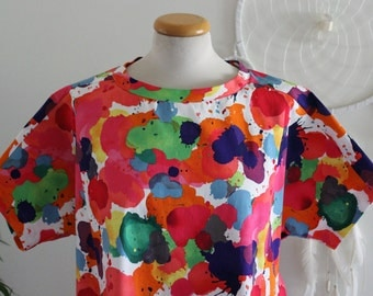 Pull Me Over Dress/ Dress/ Casual/ Loungewear/ Oversized/ Ink Splat/ Colourful/ Print/ Cotton/ Handmade