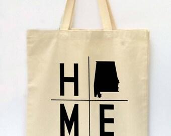 State Tote Bag, Alabama Tote, Reusable Grocery Bag, Market Tote Bag, Teachers Gift, Canvas Tote Bag, Printed Tote Bag, Shopping Bag