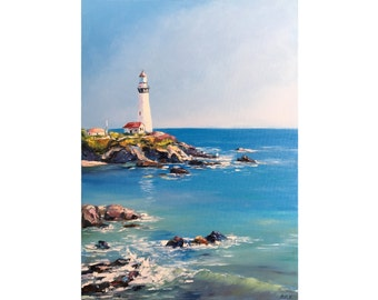 "Oil Painting, Sea. seascape, ""Lighthouse"". 55х40 cm. Free shipping!"