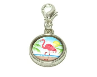 Flamingo And Palm Tree Beach Vacation Dangling Bracelet Pendant Charm