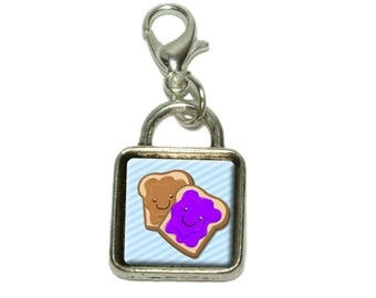 Peanut Butter And Jelly Dangling Bracelet Pendant Square Charm