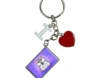 Dwarf Hamster With Sunflower Seed I Heart Love Keychain Key Ring