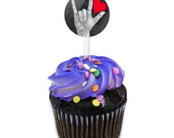 I Love You Sign Language Cake Cupcake Toppers Picks Set