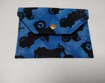 Small purse - coin wallet  - business card holder - gift card holder - motorbike on blue wallet - popper fabric wallet - gifts for bikers