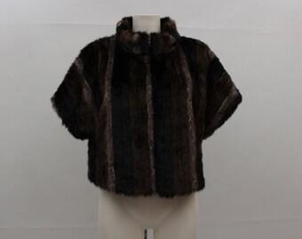 90s Vintage Bolero • Brown - Gray Fake Fur Boler • Woman's Brown Bolero • Brown Fake FurJacket • Bolero Jacket • Fake Fur Bolero • Cocktail